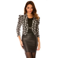 ELEGANT WAISTED LADIES BLAZER JACKET TRIANGLE BLACK/WHITE