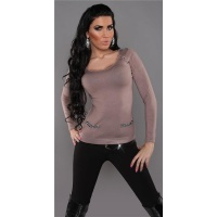 ELEGANT FINE-KNITTED LADIES SWEATER WITH CHIFFON CAPPUCCINO