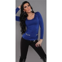 ELEGANT FINE-KNITTED LADIES SWEATER WITH CHIFFON ROYAL BLUE