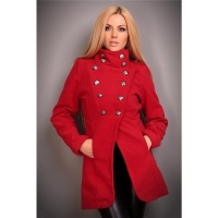 ELEGANT LADIES SHORT COAT WITH DECORATIVE BUTTONS RED