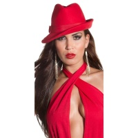 ELEGANT HAT WITH BOW RED