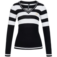 ELEGANT STRIPED LADIES SWEATER PULLOVER BLACK/WHITE