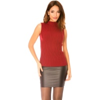 ELEGANT RIB-KNITTED LADIES SLIPOVER WITH STAND-UP COLLAR...