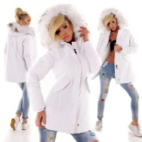 ELEGANT LADIES PARKA COAT WITH FAKE FUR HOOD WHITE