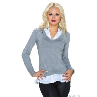 ELEGANT FINE-KNITTED 2-IN-1 BLOUSE-PULLOVER SWEATER GREY/WHITE