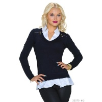 ELEGANT FINE-KNITTED 2-IN-1 BLOUSE-PULLOVER SWEATER NAVY/WHITE