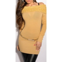 GORGEOUS FINE-KNITTED CARMEN SWEATER OCHRE YELLOW