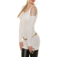ELEGANT FINE KNITTED LONG SWEATER WITH RHINESTONES WHITE