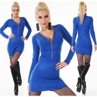 ELEGANT FINE-KNITTED LONG SWEATER/MINIDRESS WITH ZIPPER BLUE