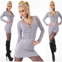 ELEGANT FINE-KNITTED LONG SWEATER/MINIDRESS WITH ZIPPER GREY