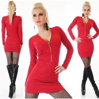ELEGANT FINE-KNITTED LONG SWEATER/MINIDRESS WITH ZIPPER RED