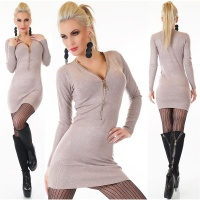 ELEGANT FINE-KNITTED LONG SWEATER/MINIDRESS WITH ZIPPER...