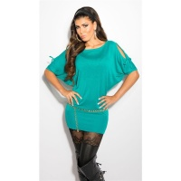 ELEGANT FINE-KNITTED LONG SWEATER WITH BATWING SLEEVES AQUA