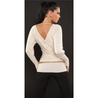 ELEGANT FINE-KNITTED SWEATER WITH BATWING SLEEVES BEIGE