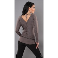 ELEGANT FINE-KNITTED SWEATER WITH BATWING SLEEVES CAPPUCCINO