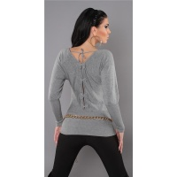 ELEGANT FINE-KNITTED SWEATER WITH BATWING SLEEVES GREY