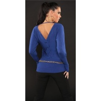 ELEGANT FINE-KNITTED SWEATER WITH BATWING SLEEVES ROYAL BLUE