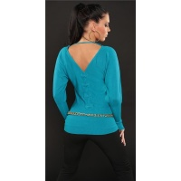 ELEGANT FINE-KNITTED SWEATER WITH BATWING SLEEVES TURQUOISE