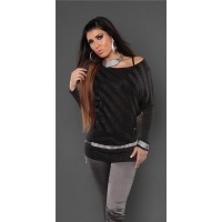 ELEGANT FINE-KNITTED SWEATER WITH GLITTER BLACK