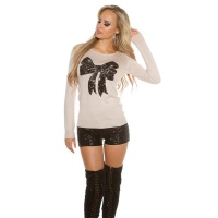 ELEGANT FINE-KNITTED SWEATER WITH SEQUINED LOOP BEIGE