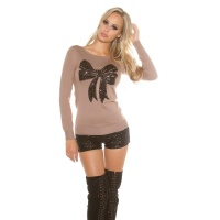 ELEGANT FINE-KNITTED SWEATER WITH SEQUINED LOOP CAPPUCCINO