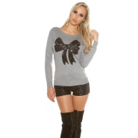 ELEGANT FINE-KNITTED SWEATER WITH SEQUINED LOOP GREY
