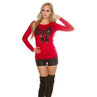 ELEGANT FINE-KNITTED SWEATER WITH SEQUINED LOOP RED