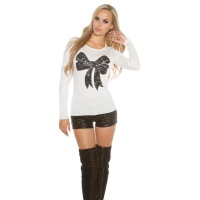 ELEGANT FINE-KNITTED SWEATER WITH SEQUINED LOOP WHITE