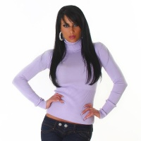 ELEGANT FINE-KNITTED POLO-NECK SWEATER LILAC