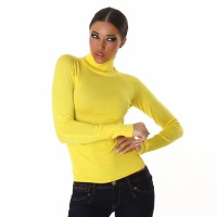 ELEGANT FINE-KNITTED POLO-NECK SWEATER YELLOW