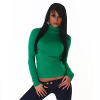 ELEGANT FINE-KNITTED POLO-NECK SWEATER GREEN Onesize (UK 8,10,12)