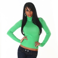 ELEGANT FINE-KNITTED POLO-NECK SWEATER LIGHT GREEN