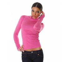 ELEGANT FINE-KNITTED POLO-NECK SWEATER LIGHT FUCHSIA