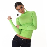 ELEGANT FINE-KNITTED POLO-NECK SWEATER LEMON GREEN