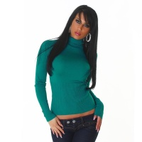 ELEGANT FINE-KNITTED POLO-NECK SWEATER PETROL