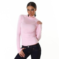 ELEGANT FINE-KNITTED POLO-NECK SWEATER PINK Onesize (UK 8,10,12)