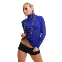 ELEGANT FINE-KNITTED SWEATER POLO-NECK SWEATER ROYAL BLUE Onesize (UK 8,10,12)