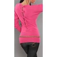 ELEGANT FINE-KNITTED SWEATER WITH BOWS AT THE BACK FUCHSIA