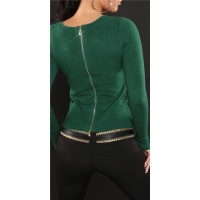 ELEGANT FINE-KNITTED SWEATER WITH ZIPPER AT THE BACK GREEN Onesize (UK 8,10,12)