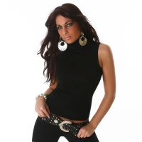 ELEGANT POLO-NECK SLIPOVER BLACK Onesize (UK 8,10,12)
