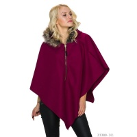 ELEGANT FELT PONCHO CAPE WITH FAKE FUR COLLAR WINE-RED