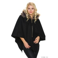 ELEGANT FELT PONCHO CAPE WITH FAKE FUR COLLAR BLACK