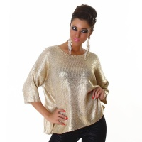 ELEGANT SHINY KNITTED SWEATER IN BOXY STYLE BEIGE