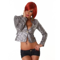 ELEGANT GLAMOUR BLAZER JACKET WITH SEQUINS PARTY SILVER