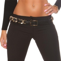 ELEGANT GLAMOUR LADIES` BELT IN CHAIN STYLE BLACK/GOLD 90