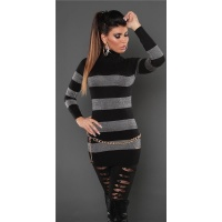 FASHIONABLE FINE-KNITTED POLO-NECK LONG SWEATER WITH GLITTER BLACK Onesize (UK 8,10,12)