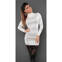 FASHIONABLE FINE-KNITTED POLO-NECK LONG SWEATER WITH GLITTER WHITE