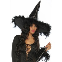 STYLISH WITCH HAT MADE OF SATIN WITH PLUMES BLACK