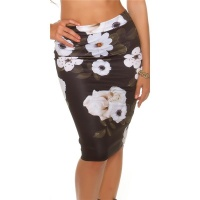 ELEGANT KNEE-LENGTH PENCIL SKIRT WITH FLORAL PATTERN BLACK