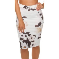 ELEGANT KNEE-LENGTH PENCIL SKIRT WITH FLORAL PATTERN WHITE